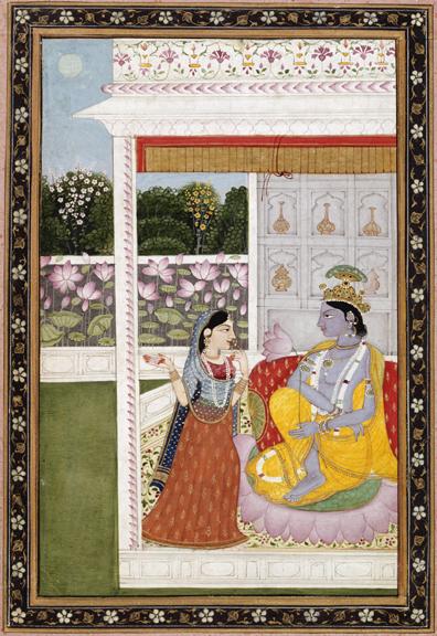 """Krishna with Messenger"" Archival Digital Print (11"" x 14"" mat)-0"