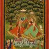 """Ladies Worship Krishna and Radha"" Archival Digital Print (16"" x 20"" mat)-0"