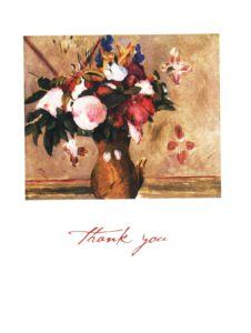 """Redon """"Vase of Flowers"""" Boxed Thank You Cards-0"""