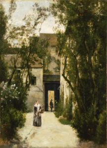 """Stanislas-Victor-Édouard Lépine """"A Courtyard on the Rue de la Fontinelle"""" Archival Digital Print (11 x 14 inch mat)-0"""