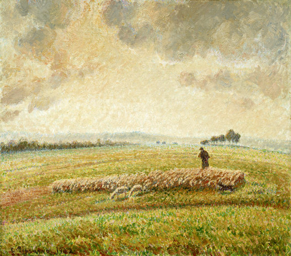 """Camille Pissarro """"Landscape with Flock of Sheep"""" Archival Digital Print (11 x 14 inch mat)-0"""