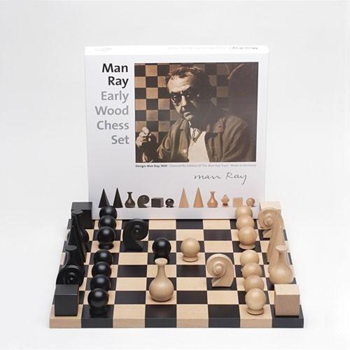 Man Ray Early Wood Chess Set -0